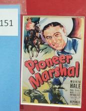 Lot 151: MONTE HALE BLACK & WHITE SIGNED PUBLICITY PHOTO & 6 MINIATURE REPRODUCTION LOBBY CARDS