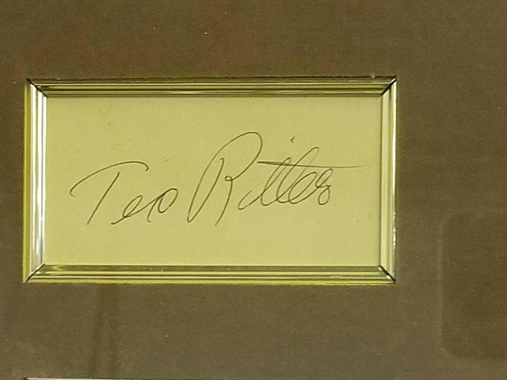 Lot 160: TEX RITTER COLOR FRAMED TRIBUTE W/ SIGNATURE CARD & BRASS NAME PLAQUE