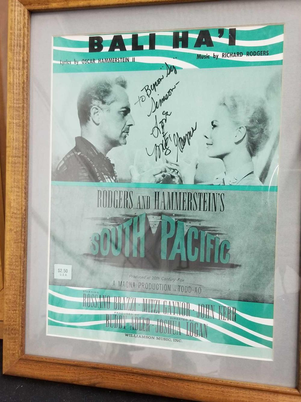 "MITZI GAYNOR SIGNED ""SOUTH PACIFIC"" COLOR SHEET MUSIC"