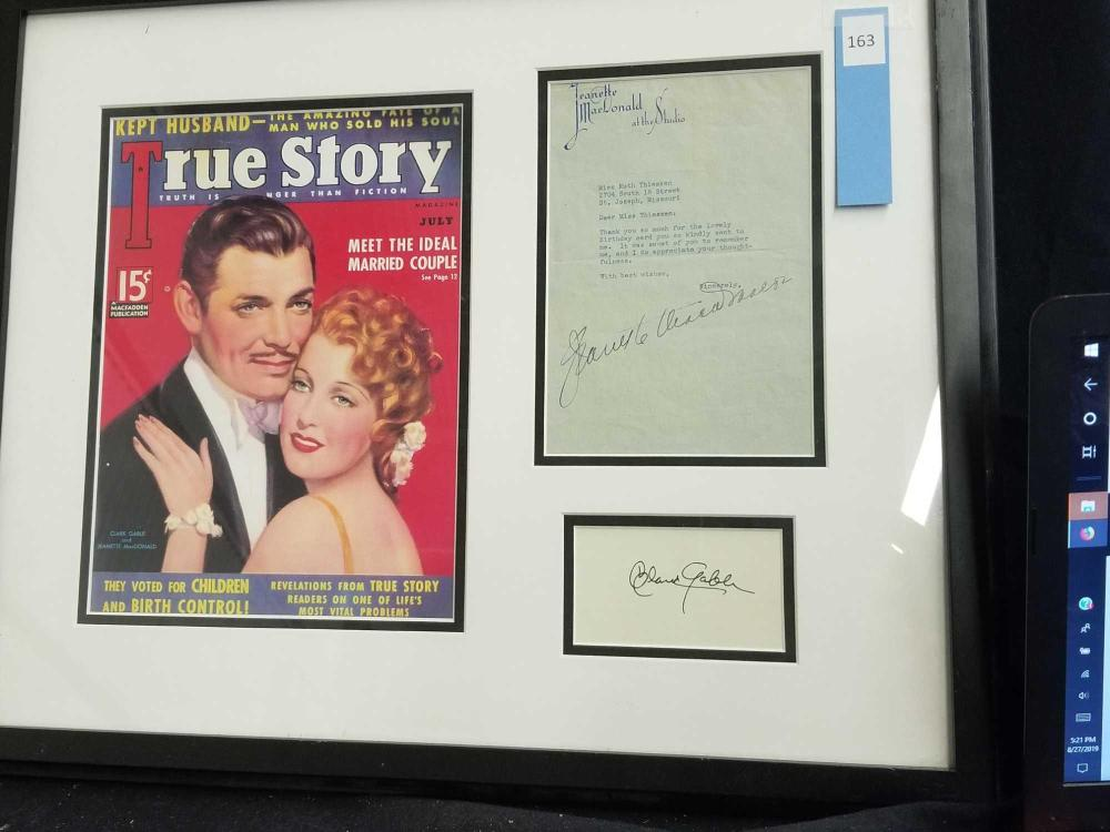"""TRUE STORY"" REPRODUCTION MAGAZINE COVER W/ LETTER FROM JEANETTE MACDONALD & SIGNATURE CARD"