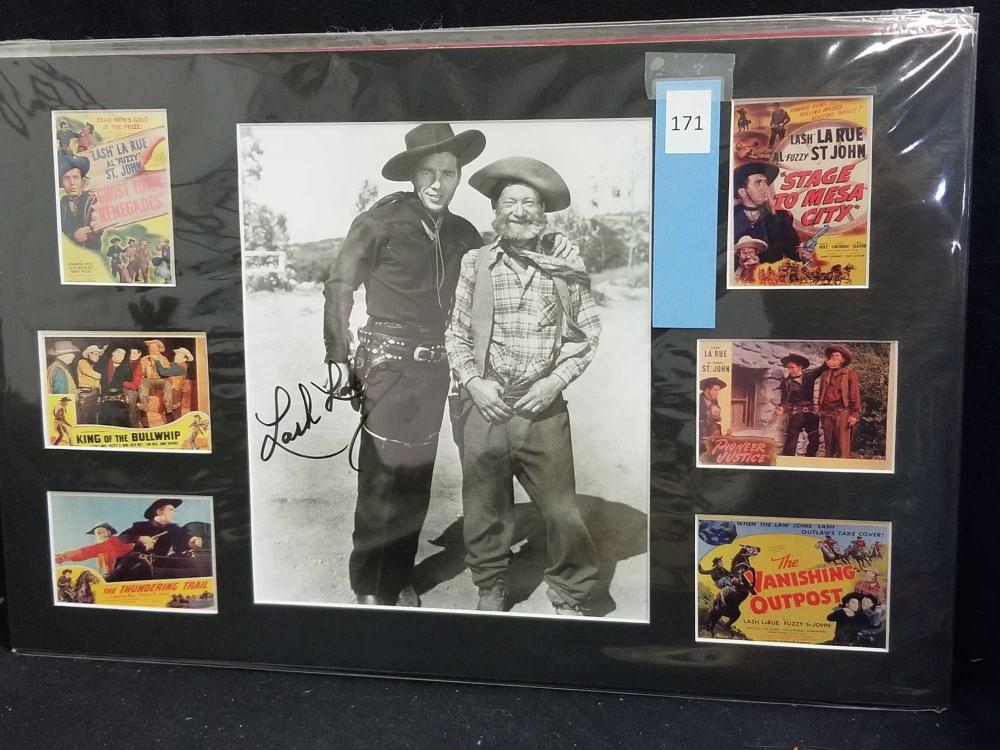 "LASH LA RUE"" SIGNED BLACK & WHITE PHOTO W/6 MINIATURE REPRODUCTION LOBBY CARDS"