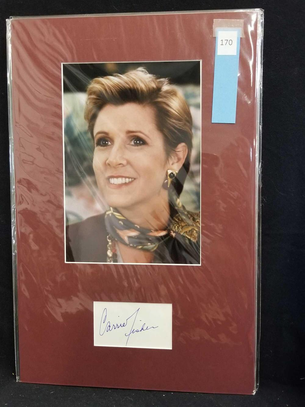 CARRIE FISHER COLOR PUBLICITY PHOTO W/ SIGNATURE CARD