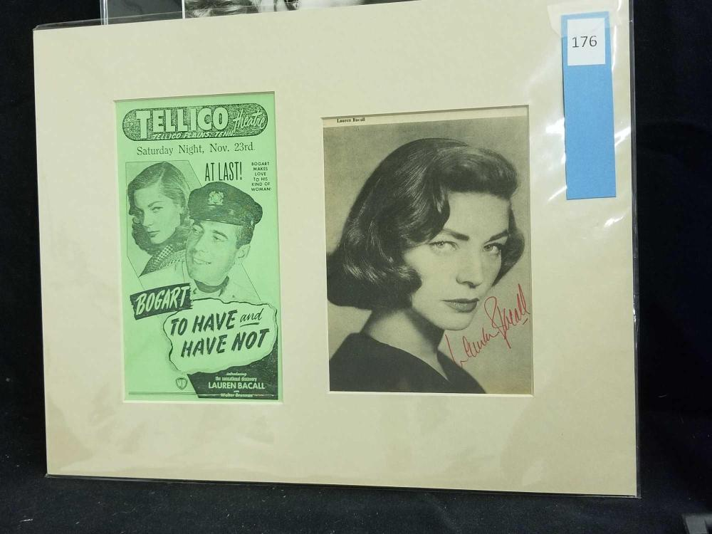 LAUREN BACALL SIGNED MAGAZINE PAGE & REPRODUCTION MOVIE ADVERTISEMENT