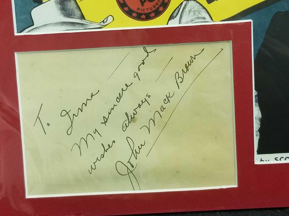 Lot 179: JOHN MACK BROWN REPRODUCTION COLOR MOVIE POSTER & SIGNATURE CARD