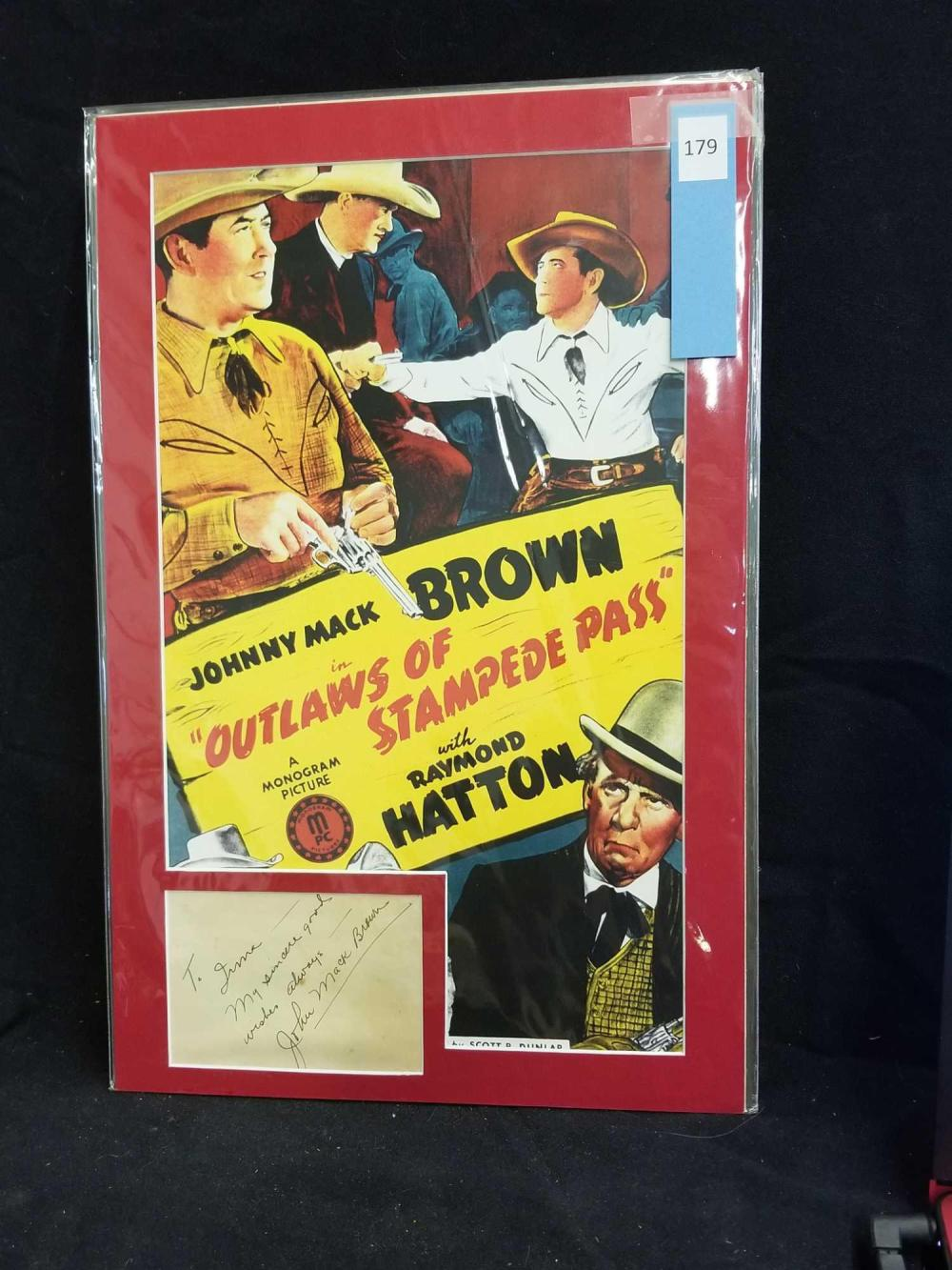 JOHN MACK BROWN REPRODUCTION COLOR MOVIE POSTER & SIGNATURE CARD