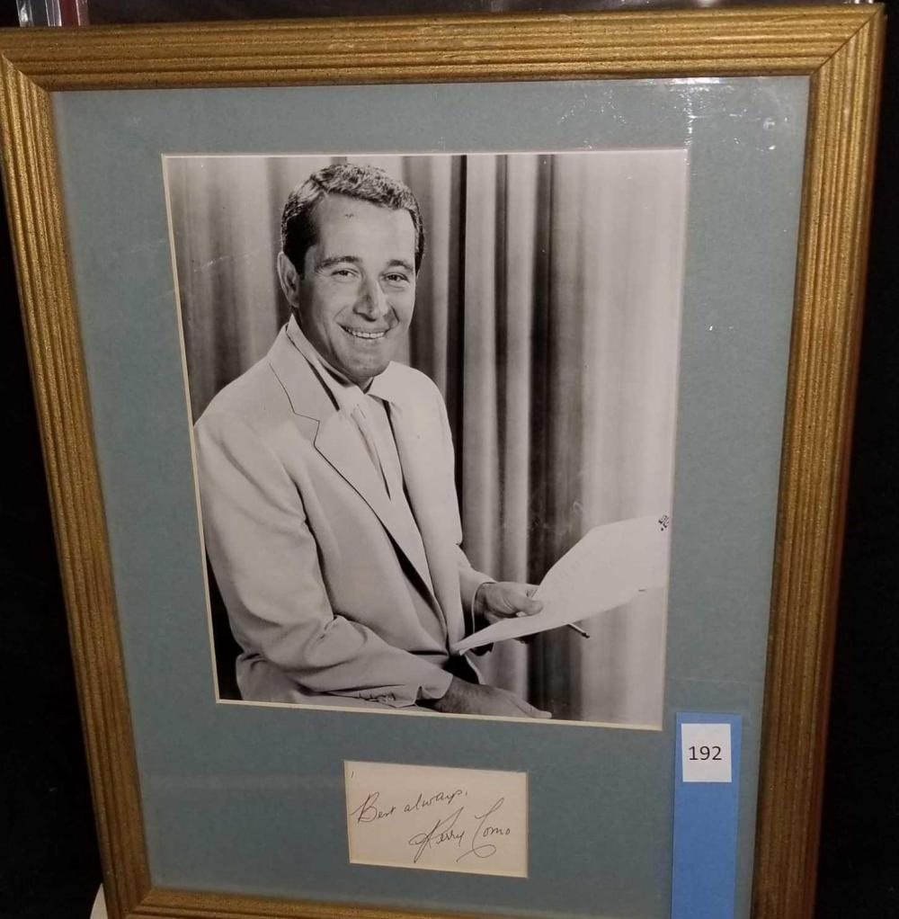 PERRY COMO BLACK & WHITE PUBLICITY PHOTO W/ SIGNATURE CARD
