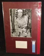Lot 195: JAY SILVERHEELS BLACK & WHITE PUBLICITY PHOTO W/ SIGNATURE CARD