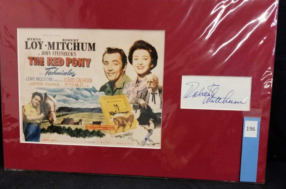 ROBERT MITCHUM REPRODUCTION MOVIE LOBBY CARD W/ SIGNATURE CARD
