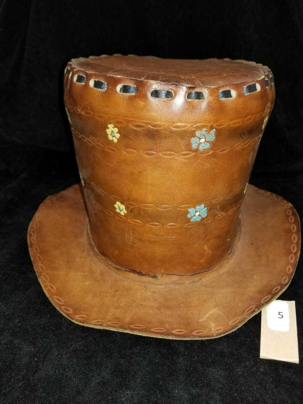 """LEATHER """"HIPPY"""" TOP HAT"""