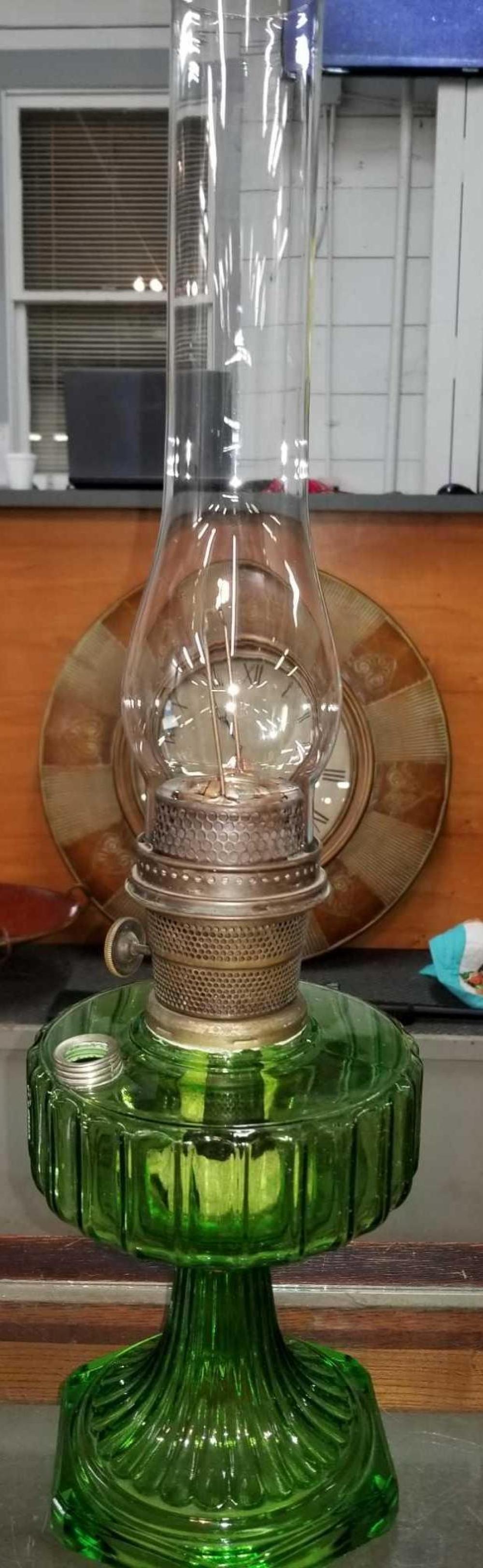 ALADDIN GREEN GLASS KEROSENE LAMP