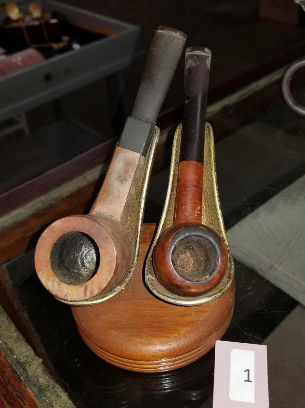 VINTAGE SMOKING PIPES ON A STAND - 3 ITEMS