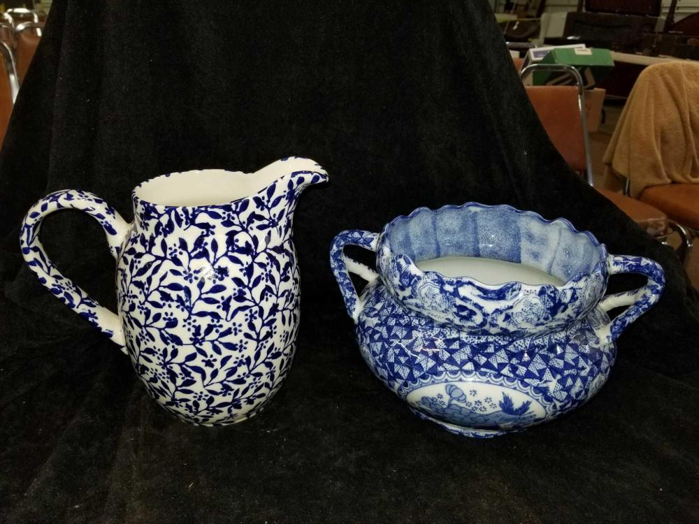 BLUE & WHITE PITCHER & ORIENTAL STYLE HANDLED POT - 2 ITEMS