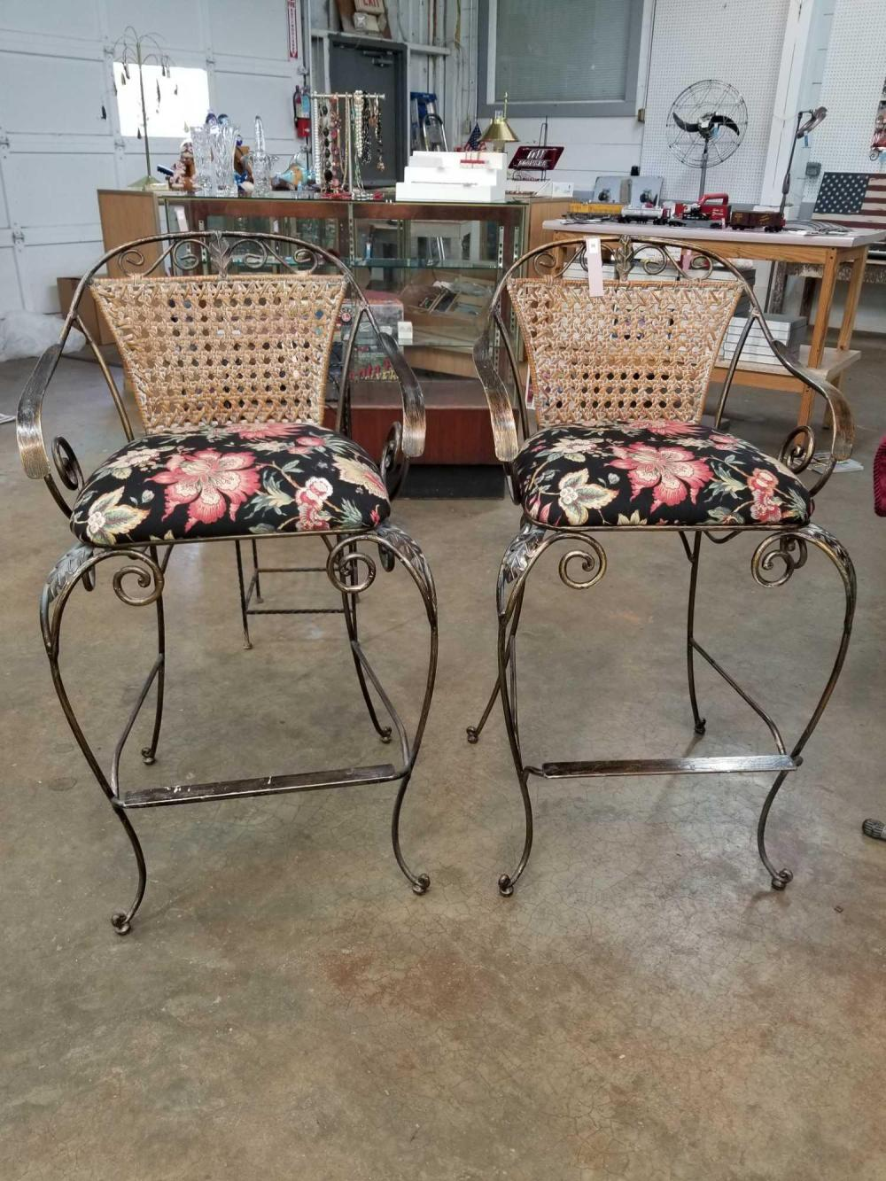 MODERN IRON & WICKER BAR CHAIRS W/ UPHOLSTERED SEATS - 2 ITEMS