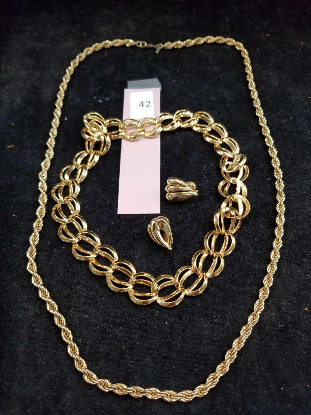 COSTUME NECKLACE & NECKLACE W/ EARRING SET - 2 ITEMS