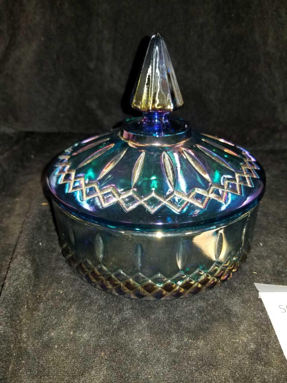 RETRO BLUE CARNIVAL GLASS COVERED CANDY DISH