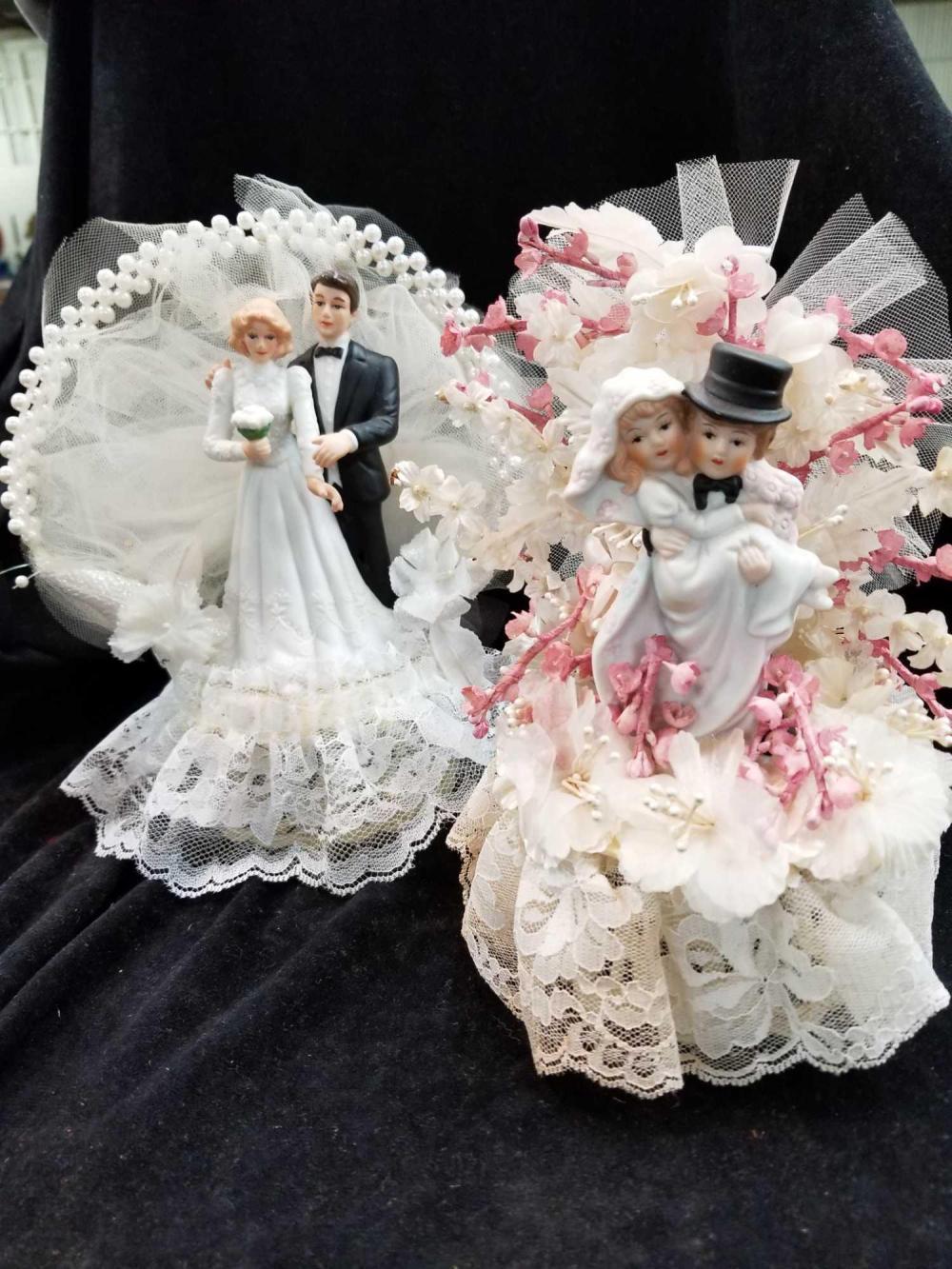 VINTAGE PORCELAIN WEDDING CAKE TOPPERS - 2 ITEMS