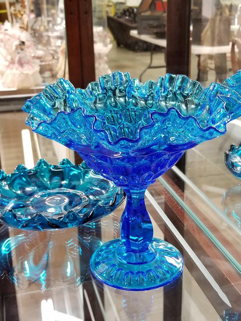 BLUE GLASS RUFFLED COMPOTE & SCALLOPED EDGE SMALL BOWL - 2 ITEMS