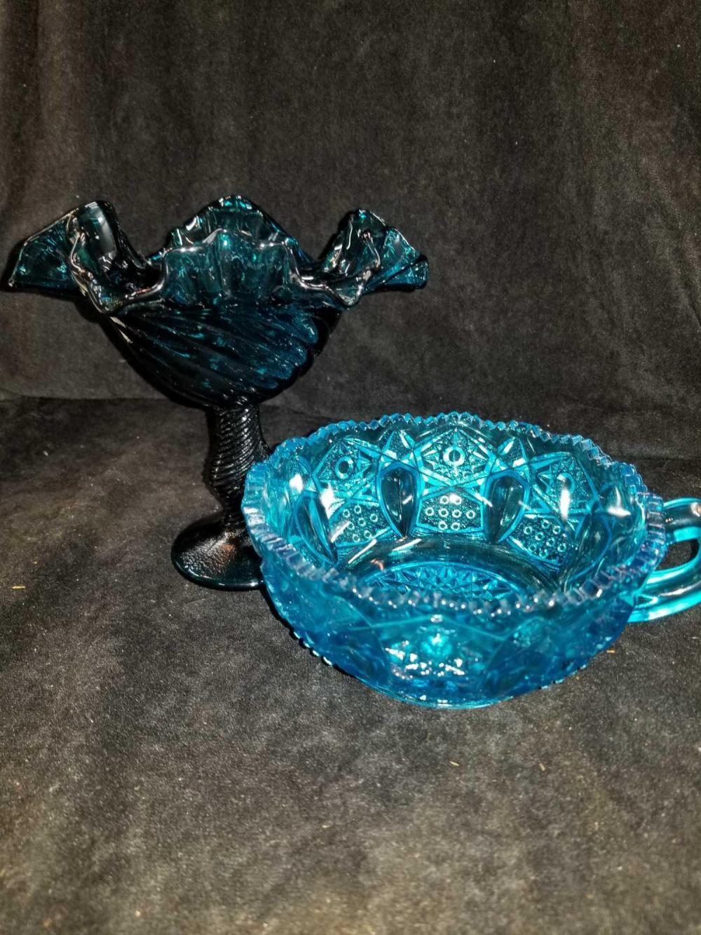 BLUE GLASS COMPOTE & BLUE HANDLED NAPPIE - 2 ITEMS