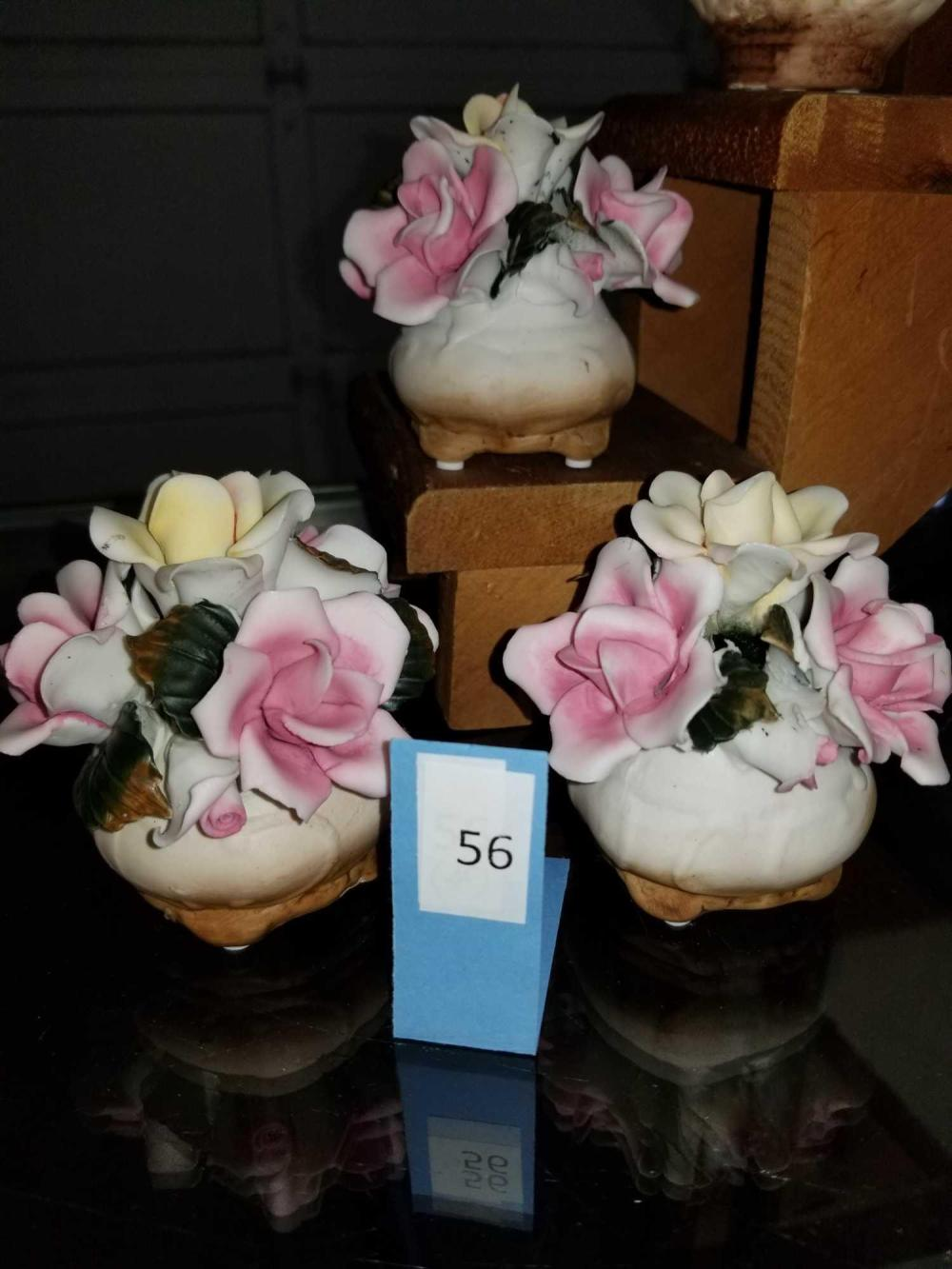 MINIATURE BISQUE  POTS OF ROSES FIGURINES - 3 ITEMS