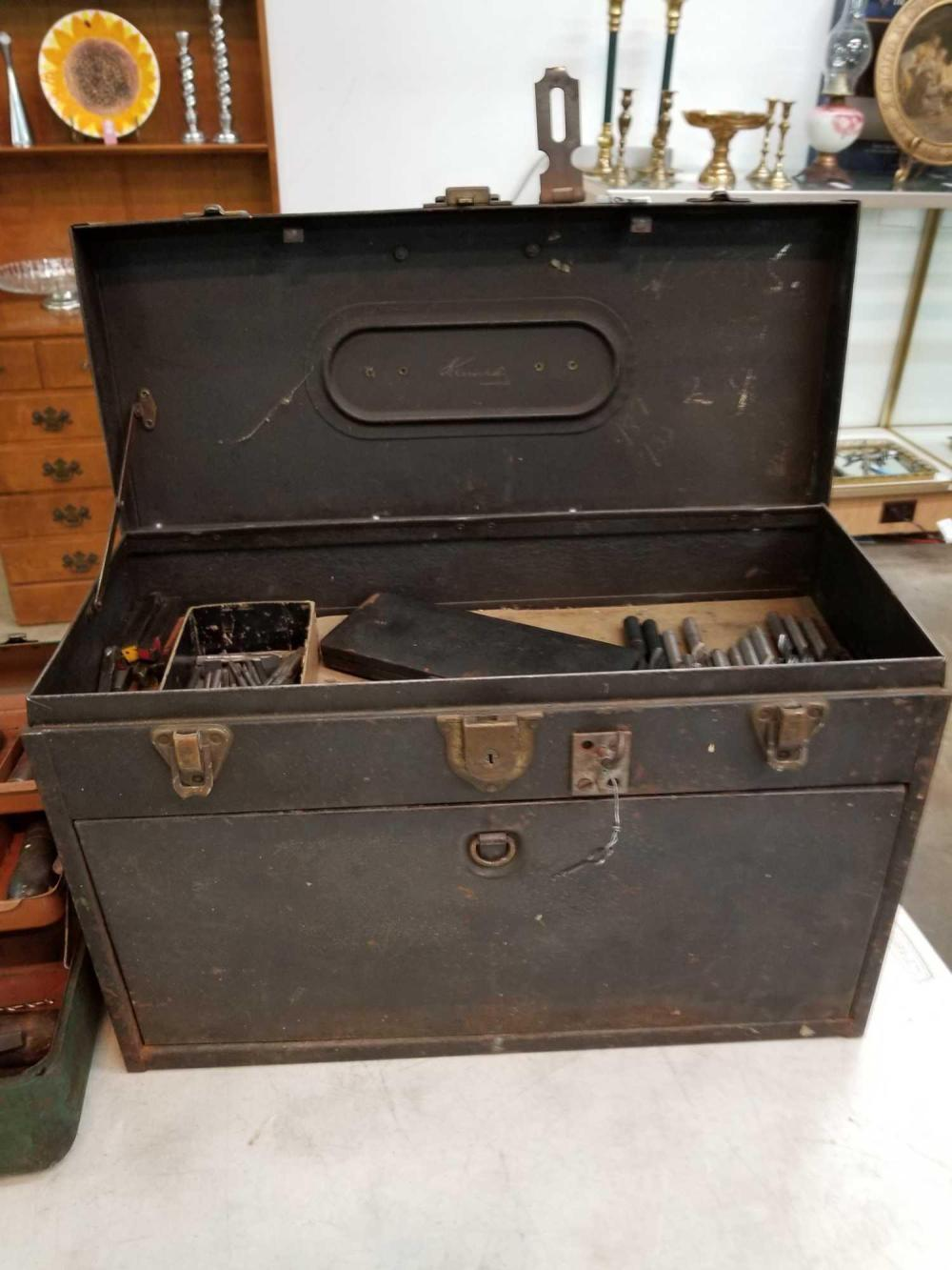 KENNEDY VINTAGE MACHINIST'S TOOL BOX W/ CONTENTS MARKED BALBOA C.Z.