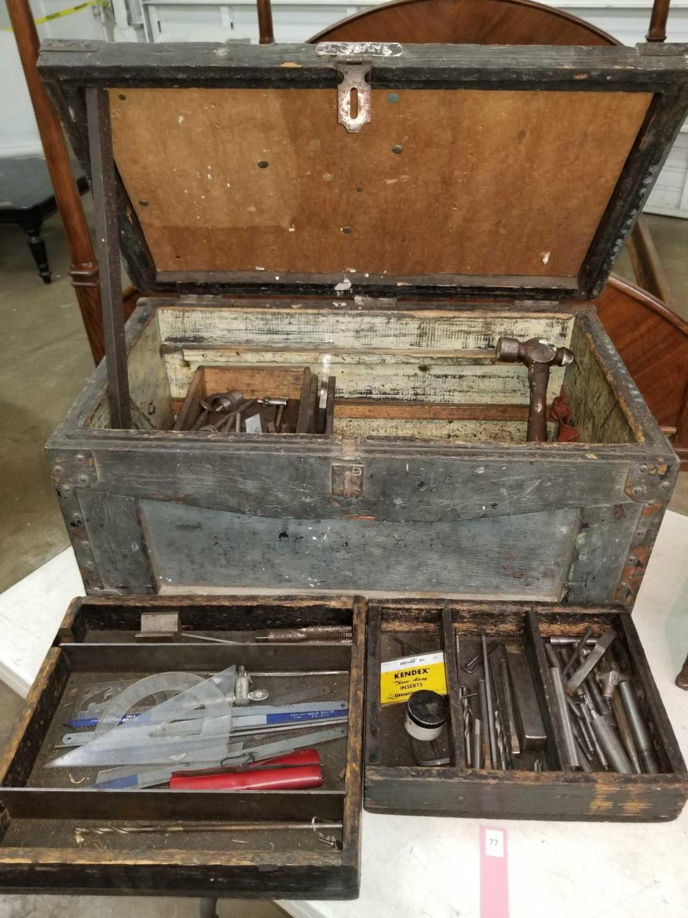 WOODEN VINTAGE MACHINIST'S TOOL BOX W/ 3 LIFT OUT TRAYS & CONTENTS