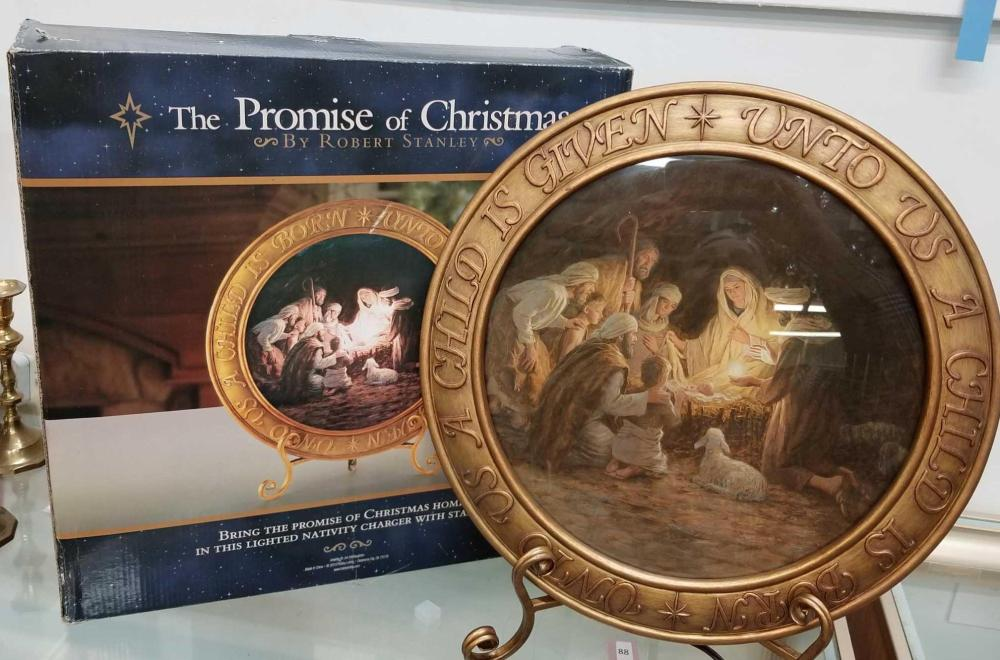 """""""THE PROMISE OF CHRISTMAS"""" BY ROBERT STANLEY LIGHTED NATIVITY CHARGER W/ STAND"""