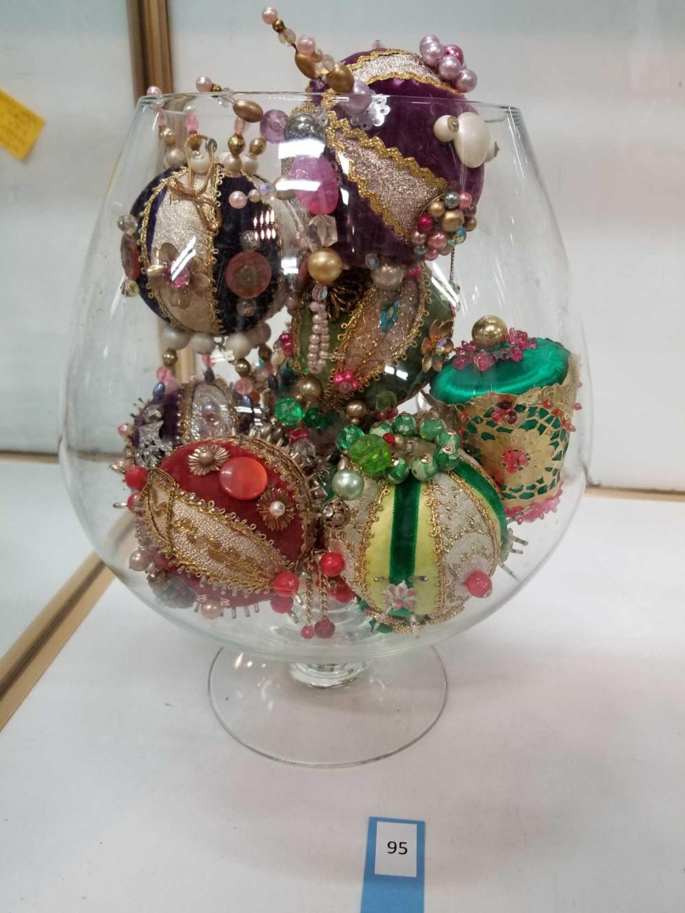 CLEAR GLASS LG. BRANDY SNIFTER W/ HOME MADE CHRISTMAS ORNAMENTS
