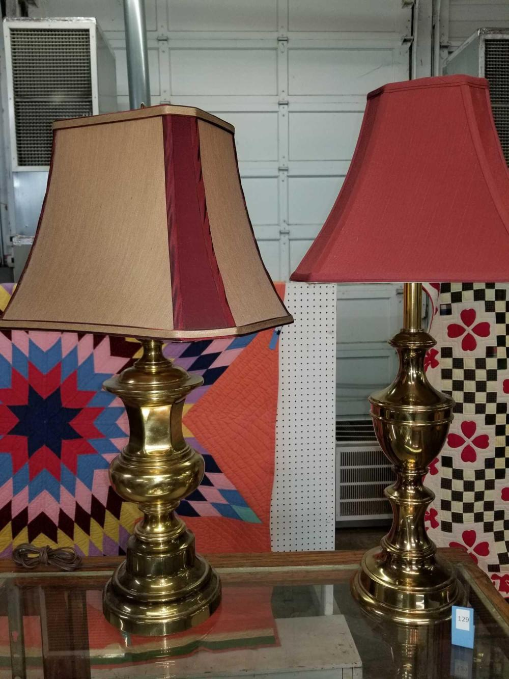 DECORATOR BRASS TABLE LAMPS W/ SHADES - 2 ITEMS