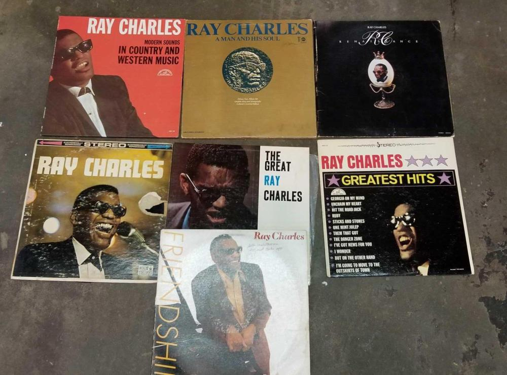 VINTAGE RAY CHARLES 33 1/3 RPM ALBUMS - 7 TOTAL