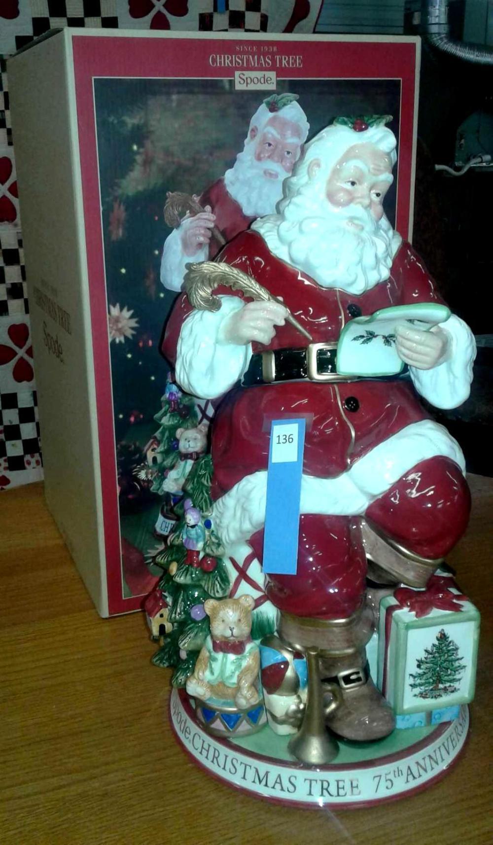 SPODE CHRISTMAS TREE 75TH ANNIVERSARY SANTA COOKIE JAR IN THE BOX