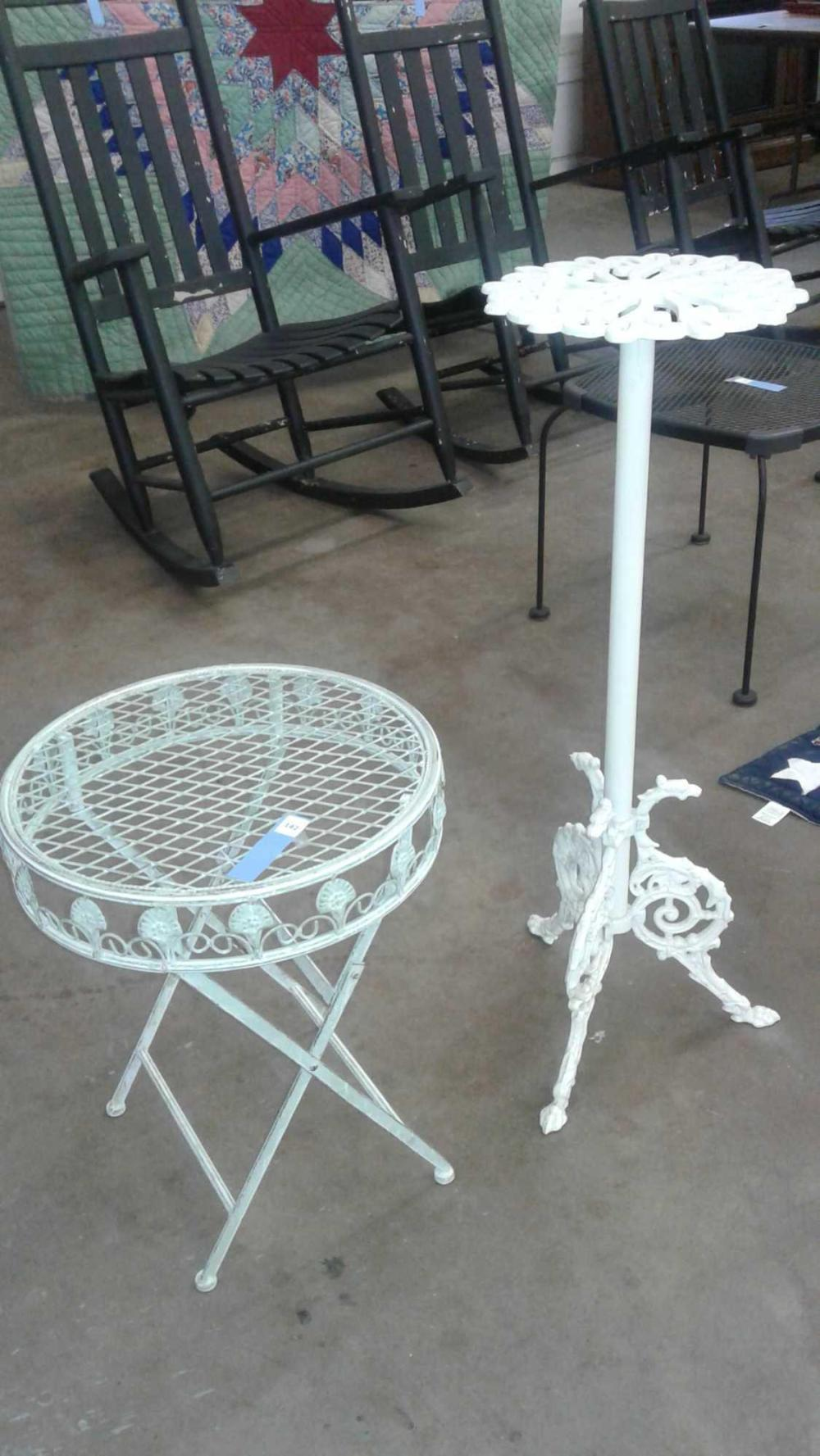 IRON PATIO FERN STAND & SMALL FOLDING COCKTAIL TABLE - 2 ITEMS