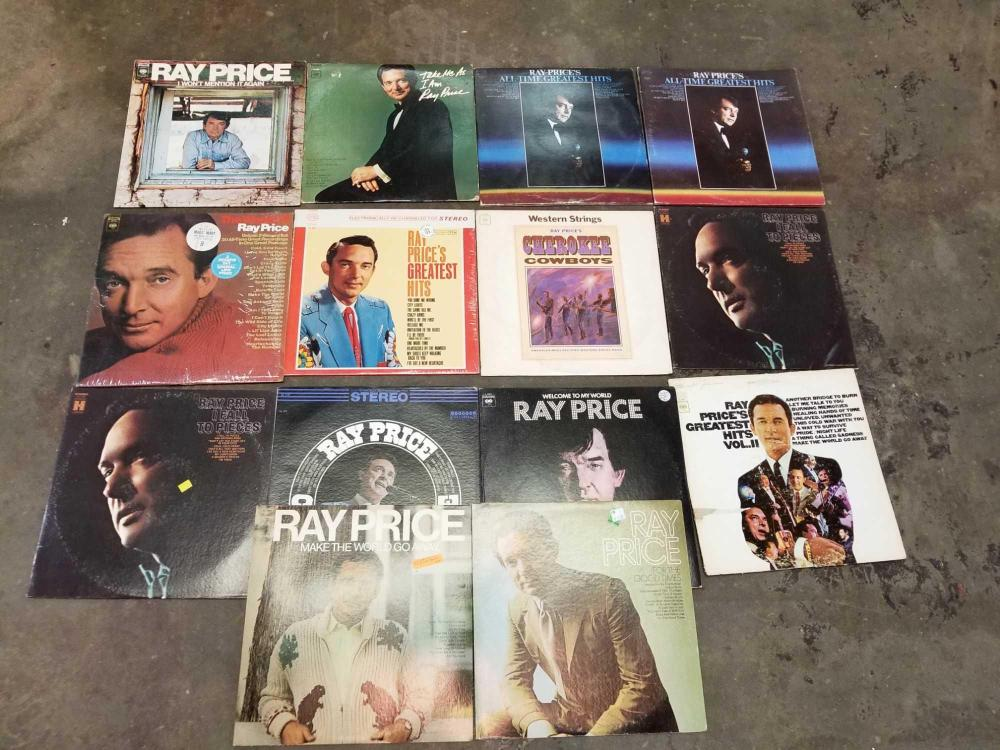 VINTAGE RAY PRICE 33 1/3 RECORD ALBUMS - 14 ITEMS