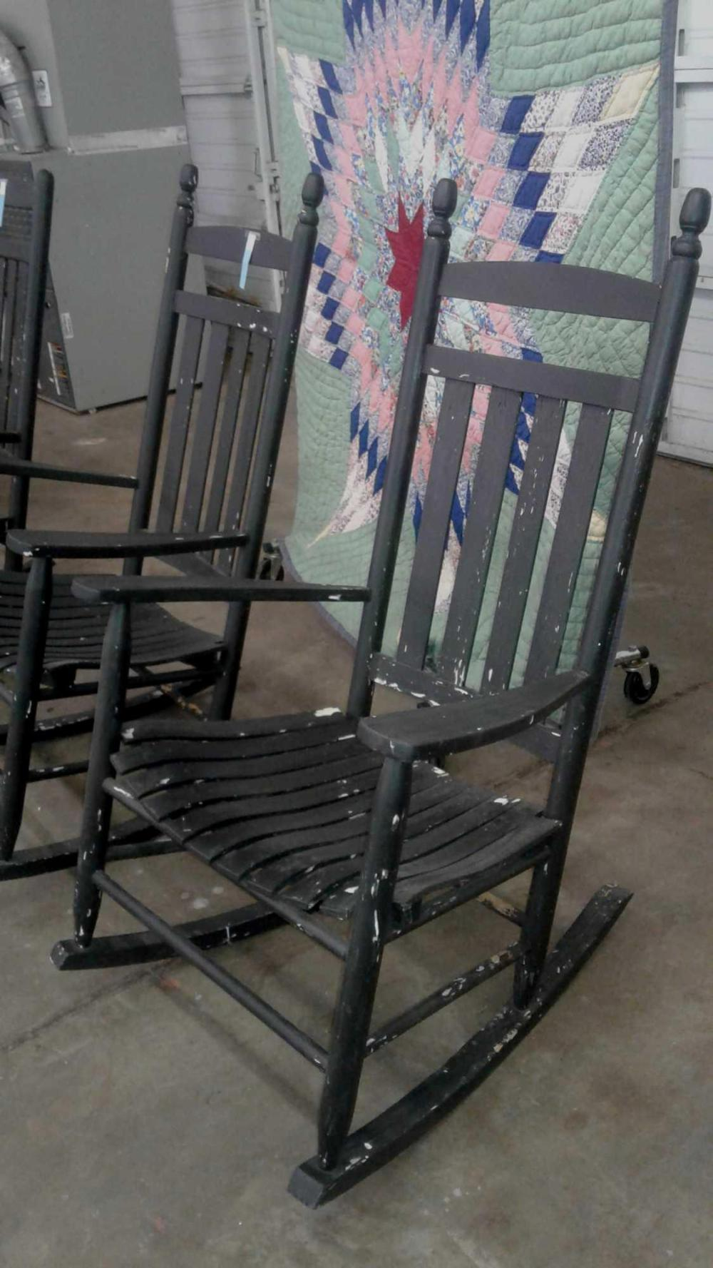 BLACK PAINTED HIGH BACK WOODEN PORCH ROCKERS - 2 ITEMS