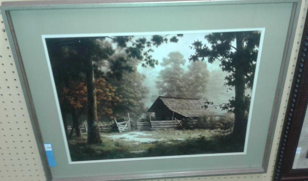 """DECORATOR FRAMED & MATTED """"OBSCURITY"""" LOG CABIN PRINT BY DALEHART WINDBERG"""