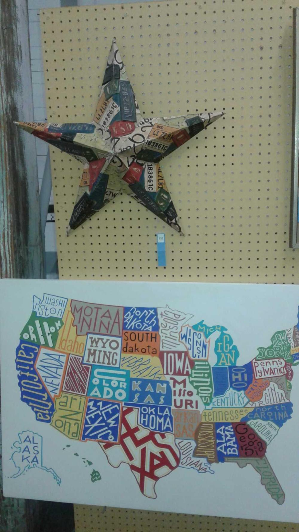 LASER PRINT OUTLINE  OF THE U.S. W/ STATE NAMES & DECORATOR EMBOSSED TIN STAR W/ AUTO LICENSE PLATE MOTIF - 2 ITEMS
