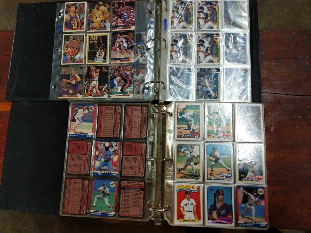 BASEBALL CARD ALBUMS & SHEET OF BASKETBALL CARDS - 2 ITEMS