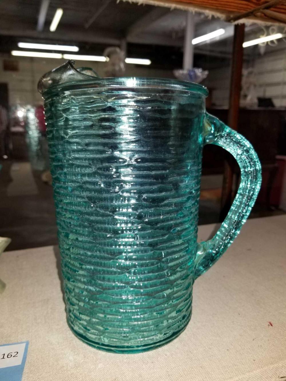 RETRO PRESSED RIPPLED WAVE BLUE-GREEN LEMONADE PITCHER