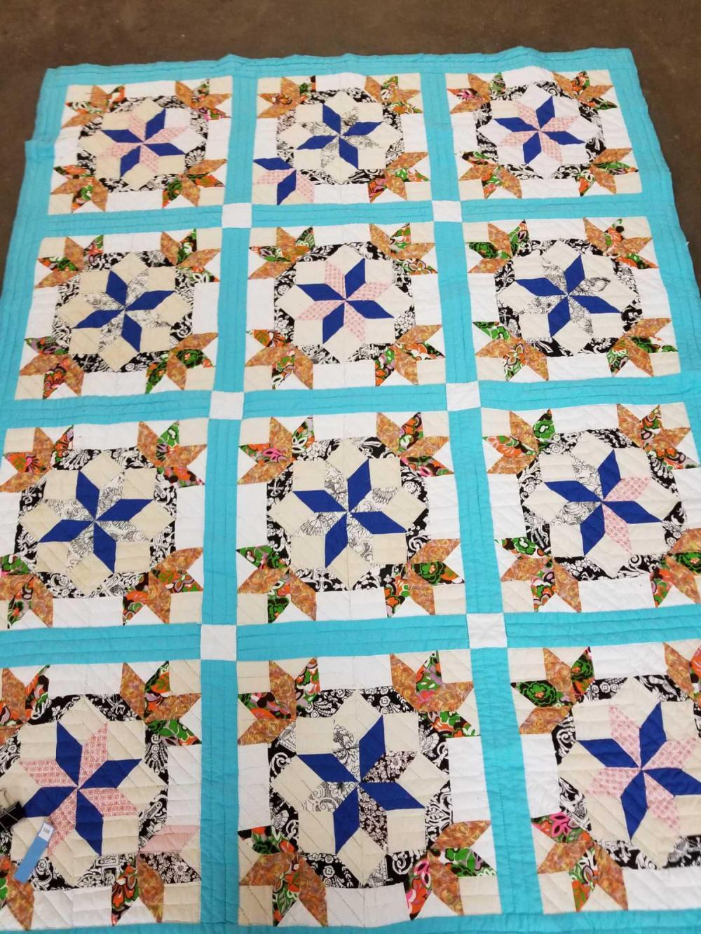MODIFIED PINWHEEL & BEAR CLAW IN SQUARE HAND MADE QUILT