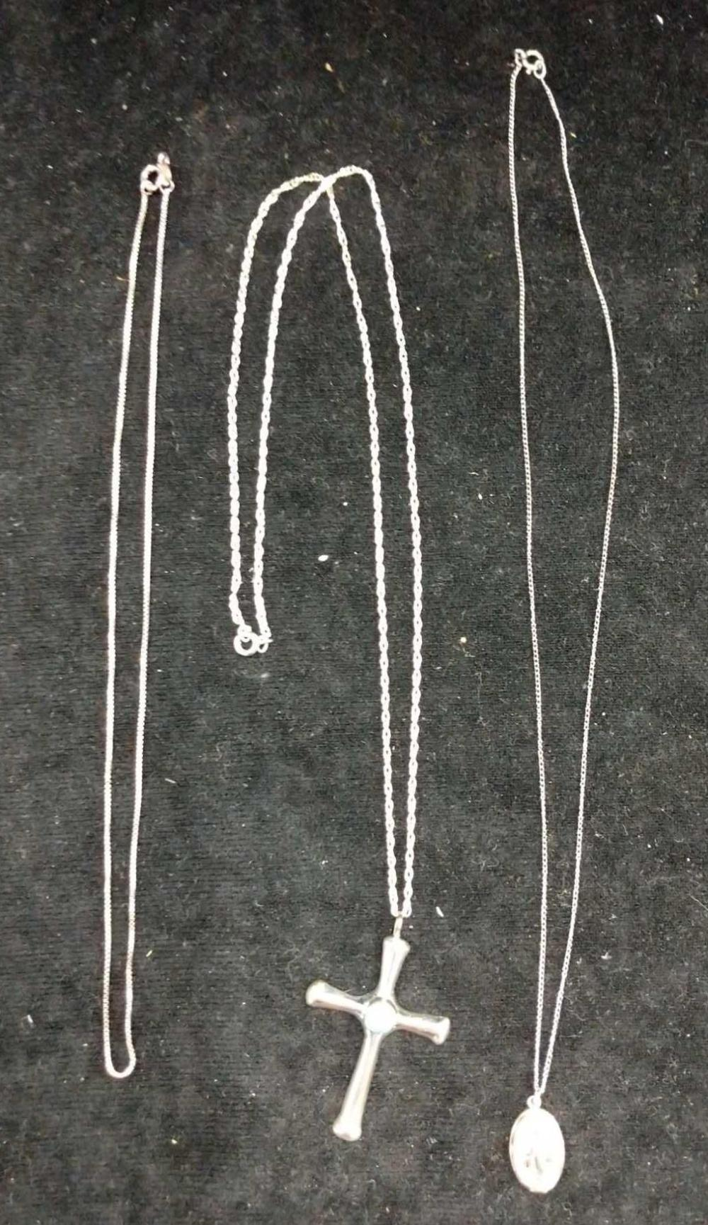 STERLING SILVER NECKLACES - 3 ITEMS