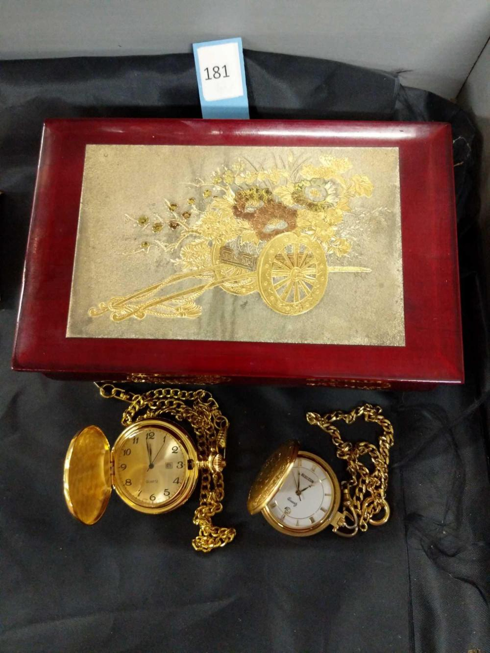 WESTLAND MUSICAL RED LACQUERED VINTAGE JEWELRY BOX & QUARTZ POCKET WATCHES - 3 ITEMS