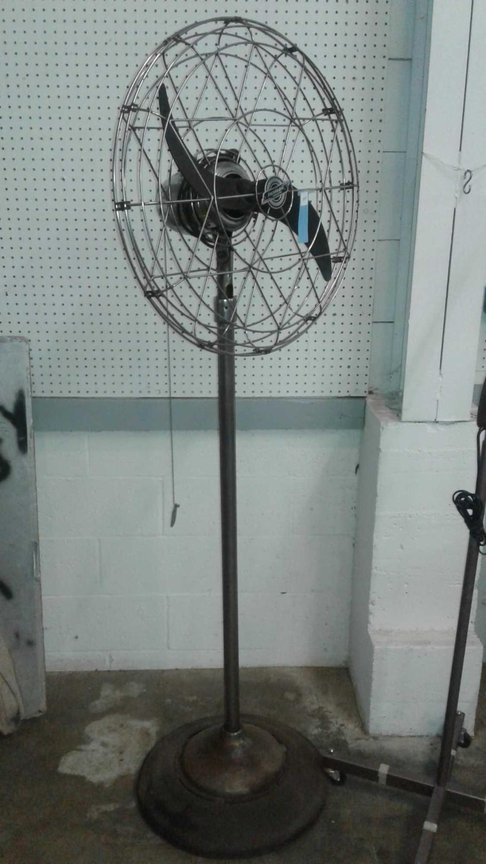 FRESH'ND-AIRE CHROME 1950'S FLOOR STANDING INDUSTRIAL FAN
