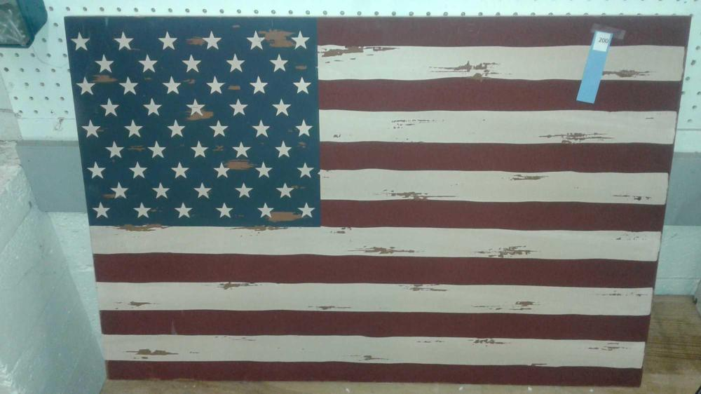 DISTRESSED USA FLAG ON BOARD FAUX PRIMITIVE WALL ART
