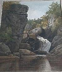 """EDSON, Aaron Allan, R.C.A., 1846-1888. """"High Falls near North Troy"""". Aquarelle, monogrammee et titree. Watercolour, monogrammed and titled 17.25in x 11.25in - 43.8cm x 28.5cm."""