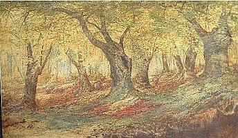 """[ Owing to processing difficulties, further information can be obtained at the auctioneers ] EDSON, Aaron Allan, R.C.A., 1846-1988. """"In the Beech Woods"""". Aquarelle, signee. Watercolour, signed. 19in x 33"""" - 48.2cm x 83.8cm."""