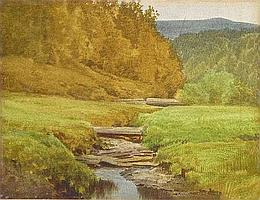 """[ Owing to processing difficulties, further information can be obtained at the auctioneers ] EDSON, Aaron Allan, R.C.A., 1846-1888. """"Winding River, Eastern Townships, Quebec"""". Aquarelle, signee. Watercolour, signed. 8 .75in x 11.5in - 22.2cm x"""