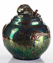 Zsolnay Bonbonier with Lid, with Fish Decoration