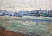 Ervin Körmendi-Frimm (1885-1939): Buda with Steamships