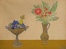 Lipót Böhm (1916-1995): Still-life with fruits and flowers