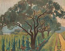 Pál Bor (1889-1982): Badacsony Landscape