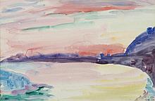 Antal Bíró (1907-1990): Sunset Landscape